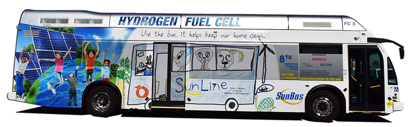 FC5 Hydrogen Fuel Cell Bus with Art Contest Wrap